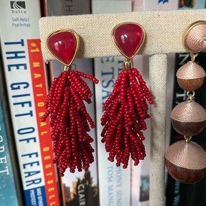 {Stella & Dot} Red Riva Tassel earrings